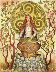 Cerridwen the shapeshifting goddess of knowledge, transformation & rebirth.  Awen, cauldron of poetic inspiration-her main symbol.  In the Mabinogion, she brews a potion to give to her son Afagddu. She puts young Gwion in charge of it but 3 drops of the brew fall upon his finger, blessing him with the knowledge held w/in. She pursues him until, in the form of a hen, she swallows him, disguised as an ear of corn. 9 months later, she gives birth to Taliesen, the greatest of all the Welsh…