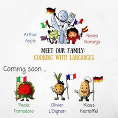 """This week we are taking part in the #MeetTheMKBblogger challenge. Follow the hashtag to meet this great community of multicultural bloggers. Day 5 is: Family We are really excited to introduce the new French German and Italian members to our Cooking With Languages family. Do you like them? Meet them soon on our #kickstartercampaign We make #languagelearning fun! Search Amazon for """"Cooking With Languages"""" our newly published English/Spanish activity cookbook for children  #aprenderingles…"""