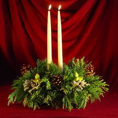 Christmas Centerpieces With Candles | Maine Christmas Centerpieces with Fresh Mixed Greens | Candles | Shop ...