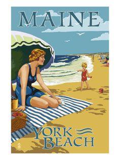 York Beach, Maine - Beach Scene Lámina