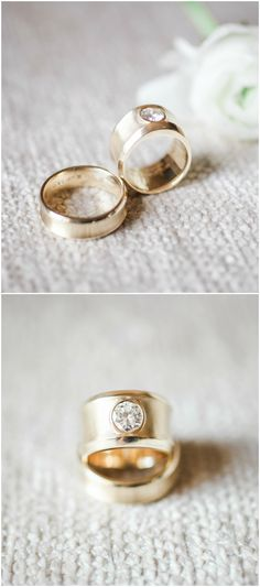 Modern engagement ring, gold, solitaire diamond, wedding band set // b. schwartz photography