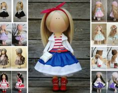 Straccio bambola bionda grigi colori Handmade di AnnKirillartPlace