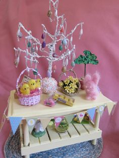 Another view of my mini Easter table.
