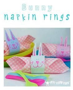 Cute and easy to make Easter Bunny Napkin Rings from cardboard tubes. Perfect Easter and Spring-time table decorations to make at home.