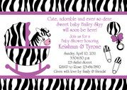 zebra stripes and purple baby shower invitation with baby bed