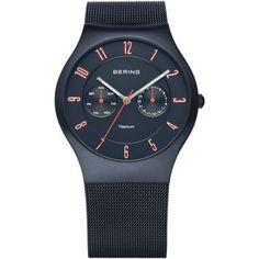 BERING 11939-393 Men's Watch Brushed Blue Titanium Case Day/Date Subdials