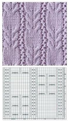 Lace Knitting Stitches, Cable Knitting Patterns, Baby Sweater Knitting Pattern, Crochet Rug Patterns, Crochet Pillow Pattern, Knitting Charts, Stitch Patterns, Crochet Cable Stitch, Creative Knitting