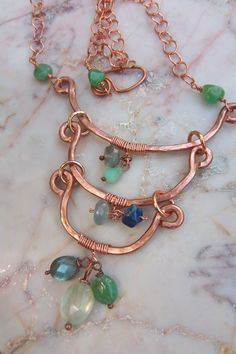 Hammered copper with multigemstone drops by mooliemarket on Etsy, $45.00