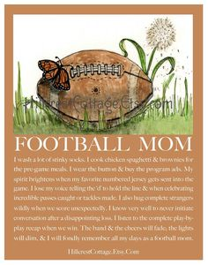 Football Mom Art Mom Football Art Football Mom by hillcrestcottage