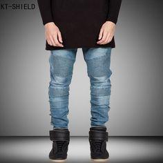 27.58$  Buy now - http://aliuk1.shopchina.info/go.php?t=32735087457 - Famous Brand Mens Skinny Biker Jeans Men Hi-Street Ripped Rider Jeans Motorcycle Runway Slim Fit Washed Moto Denim Overalls Men  27.58$ #buyonline