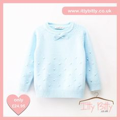 Itty Bitty Soft Blue Bow Tie Autumn Winter Jumper https://www.ittybitty.co.uk/product/itty-bitty-soft-blue-bow-tie-autumn-winter-jumper/ #youngergirls
