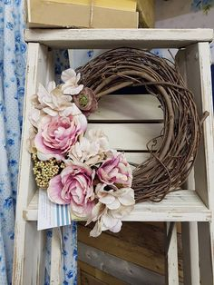 Grapevine Wreath with Flowers . Homemade Wreaths, Front Door Decor, Grapevine Wreath, Grape Vines, Bows, Spring, Flowers, Handmade, Arches