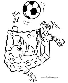 Spongebob Is Having Fun While Playing Soccer Would Be A Star Football Coloring Pagescoloring