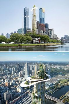 """MAD Architects has conceived a """"mountain in the city"""" as their bid to build Melbourne's tallest building. Future Buildings, City Buildings, Modern Buildings, Futuristic City, Futuristic Architecture, Biophilic Architecture, Landscape Architecture Drawing, Classical Architecture, Urban Design Concept"""