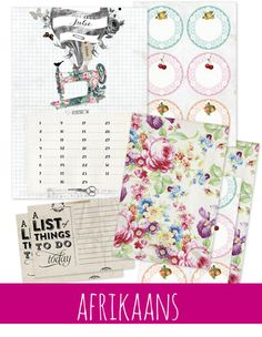 Idees Tydskrif   Julie 2015 – Ideas/Idees Card Making, Notebook, Bullet Journal, Printables, How To Make, Cards, Ideas Magazine, Vintage, Amazing Things