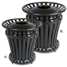 Weathergard® Series Trash Receptacles with Secure Lid Cables and Adjustable Feet