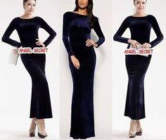 navy blue velvet long dress - Google Search