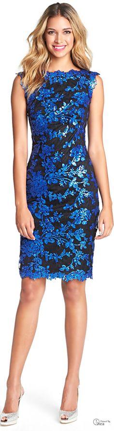 Tadashi Shoji ● Blue Lace Sheath Dress Dinner and Dance anyone ?
