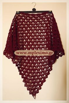 dark red crochet sha