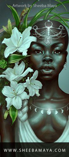 """Virgo"" Zodiac Series Part 6  Illustration by Sheeba Maya.  Master Artist of Afrofuturism & Black Fantasy Realism Illustration, Afro Spiritual Art, and Natural Black Hair Art, and Black Women Art. #blackgirlmagic"