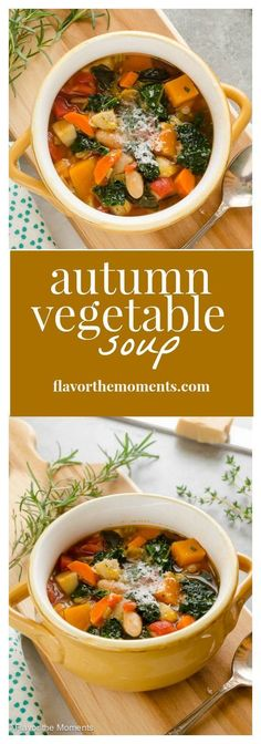 Autumn Vegetable Soup is packed with fall veggies, herbs, and white beans. It's a hearty, delicious way to get more veggies into your diet! /FlavortheMoment/ Autumn Recipes Healthy, Autumn Recipes Dinner, Healthy Fall Soups, Fall Crockpot Recipes, Fall Meals, Fall Vegetarian Recipes, Healthy Soup, Healthy Eating, Cooking Recipes