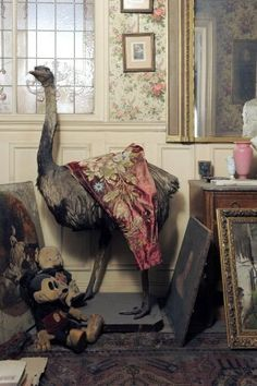 Design Time Capsule: Rediscovered Paris Apartment.You couldn't make up this tableau: a taxidermied ostrich next to Mickey Mouse, in front of a door with etched Belle Epoque designs on the glass