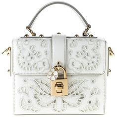 Dolce Box Mini Bag in Pebbled Leather featuring polyvore, women's fashion, bags, handbags, shoulder bags, white, womenbagstotes, white handbags, top handle handbags, white purse, mini shoulder bag and locking purse