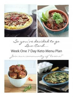 Week One 7 Day Meal Plan and shopping list for Keto and Atkins Dieters - from ibreatheimhungry.com  Join our community of losers!