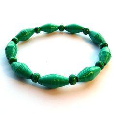Handmade Paper Bead Bracelet Green