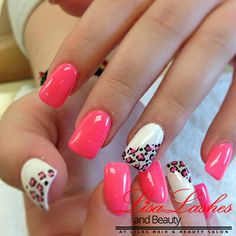 Pink and White Leopard Print Nails in Burnley