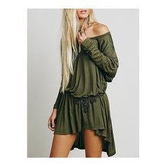 SheIn(sheinside) Army Long Sleeve High Low Dress (26 BAM) ❤ liked on Polyvore featuring dresses, green, short dresses, short prom dresses, long sleeve shift dress, hi lo dresses and army green dress