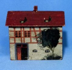 Antique German Erzgebirge Handcrafted Wood Village House Pale Green Christmas Putz