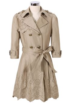 Floral Cut Out Tirm Trench Coat in Tan - New Arrivals - Retro, Indie and Unique Fashion