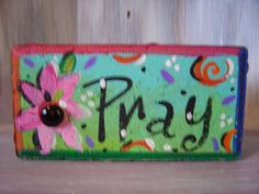 Pray Brick Whimsical Garden Art colorful jeweled by KathyHyatt Painted Stepping Stones, Painted Pavers, Painted Rocks, Hand Painted, Cement Pavers, Brick Pavers, Painted Bricks Crafts, Brick Crafts, Brick Projects