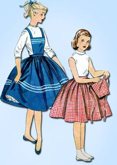 1950s Vintage Simplicity Sewing Pattern 1067 Uncut Simple Girls Skirt Size 7