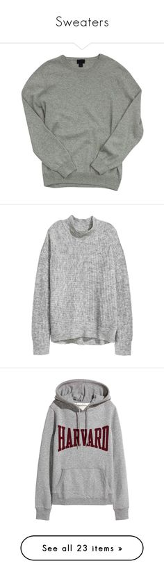 """Sweaters"" by simplyytorii ❤ liked on Polyvore featuring tops, sweaters, grey, gray cashmere sweater, gray sweater, j crew tops, cashmere sweater, pure cashmere sweaters, drop shoulder sweater and turtle neck sweater"