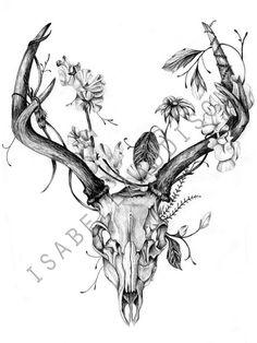 DEER SKULL print of original black and white by IsabellaAddison