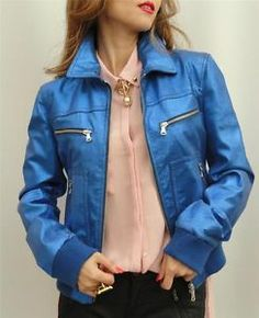 BN Dolce & Gabbana Blue Leather Biker Jacket Coat UK10 IT42 Great Gift-RRP1780GB ~ SO IN LOVE!!! The colour the metallic <3