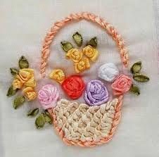 Resultado de imagen para bordado en cintas flores paso a paso