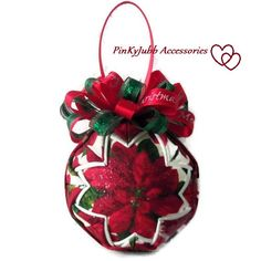 POINSETTIAS flower Quilted ornament Christmas ball decoration NEW