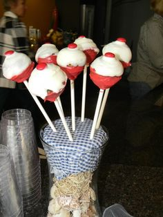 """""""Bobber"""" cake pops I made for my nephew's,Lleyton, nautical themed baby shower"""
