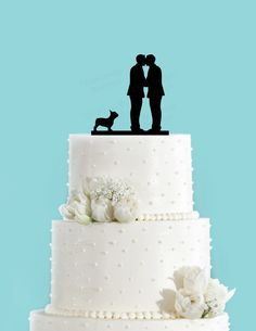 Groom and Groom Couple Kissing with French Bulldog Gay Wedding Cake Topper by ChickDesignBoutique on Etsy https://www.etsy.com/listing/222872407/groom-and-groom-couple-kissing-with