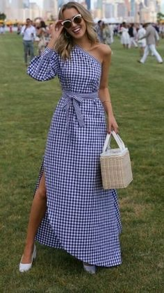 LOOKS FOR LESS: My Top 8 Most-Liked Looks, Recreated // Gingham one-shoulder asymmetric dress, straw bag + white block heel pumps {Rosetta Getty, Prada, Veuve Clicquot Polo Match}