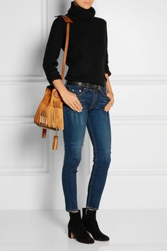 Burberry Shoes & Accessories | Fringed suede and checked canvas bucket bag | NET-A-PORTER.COM