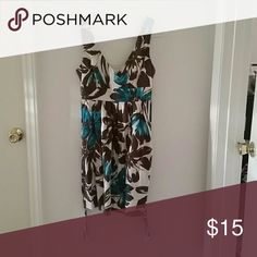 Summer dress White dress with blue and brown floral print that ties in the back Maurices Dresses Midi