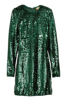 Šaty s flitry - Smaragdově zelená - ŽENY   H&M CZ 1