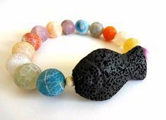Gemstone bracelet-Frosted agate-Volcanic lava fish-Sterling silver brushed…