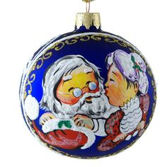 """""""Santa Claus and Mrs. Claus"""" Hand Painted Christmas Ornament. picclick.com"""