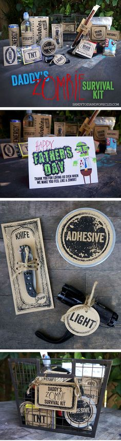 Father's Day Zombie Kit with Free printables. Great for Zombie party too! Click through for more info!