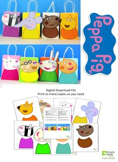 DIY Peppa Pig Friends Favor Bags. Simply Download, Print, Cut and Paste. Does not include the favor bags.